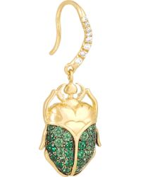 Aurelie Bidermann - Green 18-karat Gold, Tsavorite And Diamond Beetle Earrings - Lyst