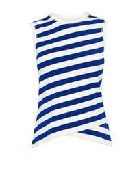 Karen Millen - Blue Fitted Stripe Vest - Lyst