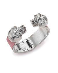 Alexander McQueen | Metallic Leather-Inset Double Skull Cuff Bracelet/Silvertone | Lyst