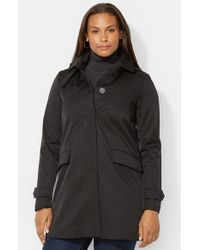 Lauren by Ralph Lauren | Black Water-Repellent A-Line Raincoat | Lyst
