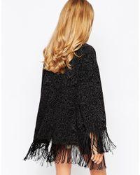Oh My Love - Black Fringed Kimono In Burnout Velvet - Lyst