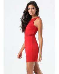Bebe - Red Mesh Inset Ponte Dress - Lyst