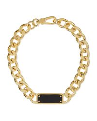 Marc By Marc Jacobs | Black Id Plaque Chain Necklace | Lyst