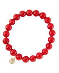 Sydney Evan - 8Mm Red Coral Beaded Bracelet With 14K White Gold/Diamond Small Hamsa Charm (Made To Order) - Lyst