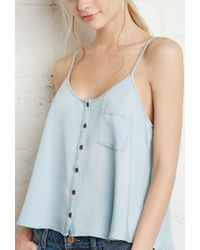Forever 21   Blue Button-front Chambray Cami You've Been Added To The Waitlist   Lyst