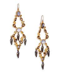 Alexis Bittar | Metallic Elements Phoenix Labradorite & Crystal Dangle Shard Two-Tier Chandelier Earrings | Lyst