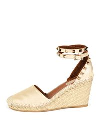 Valentino - Natural Rockstud Leather Espadrilles - Lyst