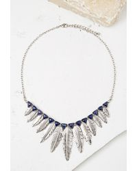 Forever 21 | Blue Feather Pendant Statement Necklace | Lyst