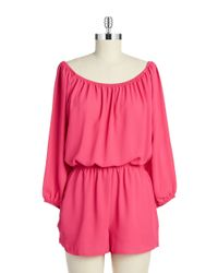 Lord & Taylor | Pink Shirred Romper | Lyst