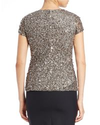Adrianna Papell | Gray Cap Sleeve Beaded Mesh Blouse | Lyst