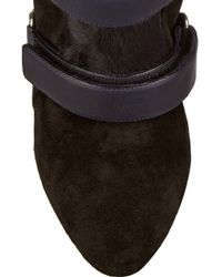 Isabel Marant - Blue Scarlet Leather, Suede And Calf Hair Wedge Boots - Lyst