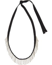 Ann Demeulemeester | Black Fringed Chain Ribbon Necklace | Lyst