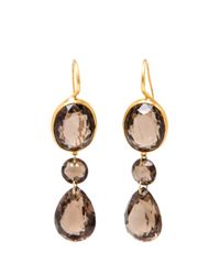 Marie-hélène De Taillac | Metallic 22k Yellow Gold And Smokey Quartz Earrings | Lyst