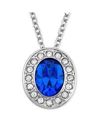 Swarovski - Blue Rhodiumplated Sapphire Crystal Pendant Necklace - Lyst