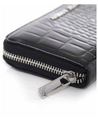Armani Jeans - Black Croc Zip Around Purse - Lyst