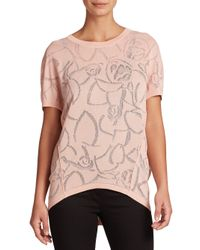 ESCADA | Pink Rose Jacquard Dolman Sweater | Lyst