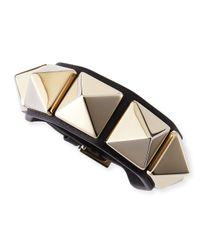 Valentino | Metallic Medium Rockstud Leather Bracelet | Lyst