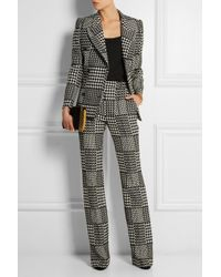 Alexander McQueen - Black Prince Of Wales Check Jacquard Bootcut Pants - Lyst