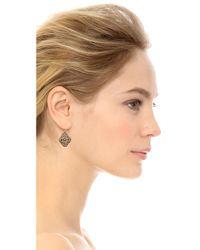 Miguel Ases - Metallic Beaded Clover Earrings - Lyst