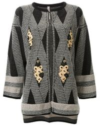 Antonio Marras - Black Diamond Pattern Cardigan - Lyst