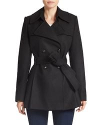 Via Spiga | Black Fitted Wool-Blend Trench Coat | Lyst