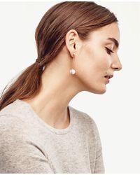 Ann Taylor - White Pearlized Linear Drop Earrings - Lyst