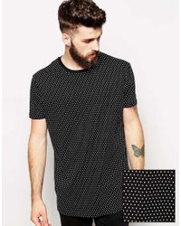 ASOS - Black Longline T-Shirt With All Over Polka Dot Print And Skater Fit for Men - Lyst