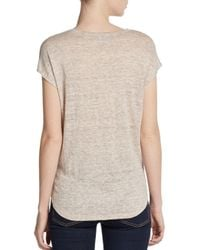 Joie - Natural Hayes Heathered Linen Vneck Tee - Lyst