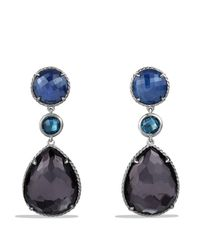 David Yurman | Metallic Ultramarine Triple-drop Earrings With Black Orchid & Hampton Blue Topaz | Lyst