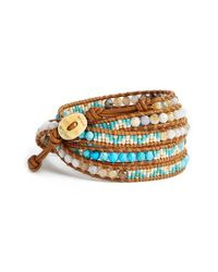 Chan Luu | Blue Beaded Leather Wrap Bracelet - Turquoise Mix | Lyst