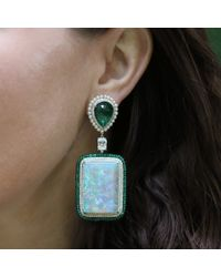 Arunashi - Green Carved Emerald And Opal Earrings - Lyst