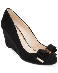 Jessica Simpson | Black Slane Bow Wedges | Lyst