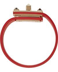 Valentino   Red Vermilion Rockstud Turn_lock Bracelet   Lyst