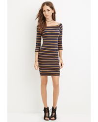 Forever 21 | Blue Boat Neck Stripe Dress | Lyst