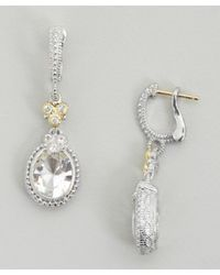 Judith Ripka - Metallic Crystal And Silver 'estate' Oval Earrings - Lyst