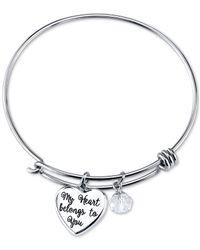 Disney - Metallic Mickey Mouse Crystal Charm Bracelet In Stainless Steel - Lyst