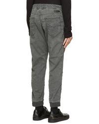 DIESEL | Gray Grey Cuffed Narrot_ne Jogg Jeans for Men | Lyst