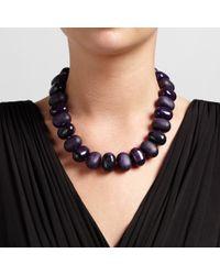 John Lewis - Purple Oval Bead Necklace - Lyst