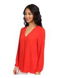 Vince Camuto - Red Long Sleeve V-Neck Blouse W/ Inverted Front Pleat - Lyst