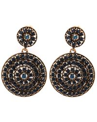 Oscar de la Renta | Blue Navy Swarovski Disk Clip-on Earrings | Lyst