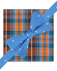 Tommy Hilfiger | Blue Dot And Plaid To-tie Bow Tie And Pocket Square Set for Men | Lyst