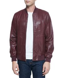 True Religion | Purple Solid Leather Jacket for Men | Lyst