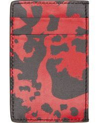 Alexander McQueen - Black And Red Leather Card Holder for Men - Lyst
