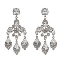 Oscar de la Renta | Metallic Crystal Chandelier Earrings | Lyst