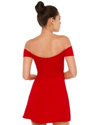 AKIRA - Scarlet Off Shoulder Red Dress - Lyst