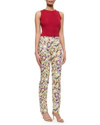 Carolina Herrera - Multicolor Flat-front Parasol-print Slim-fit Pants - Lyst