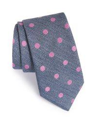 Ted Baker - Blue 'tussah Dot' Silk Tie for Men - Lyst