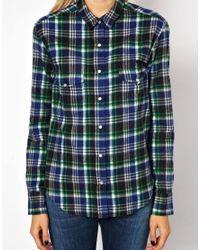 IRO - Blue Brushed Cotton Plaid Shirt - Lyst