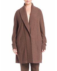 Lafayette 148 New York - Brown Ribbed Long Wool Shawl Cardigan - Lyst