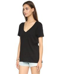 Madewell | Black Slub V Neck Pocket Tee - Heather Marble | Lyst
